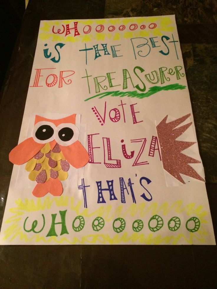 Vote for treasurer poster Diy fun Diy/Gifts/Tips