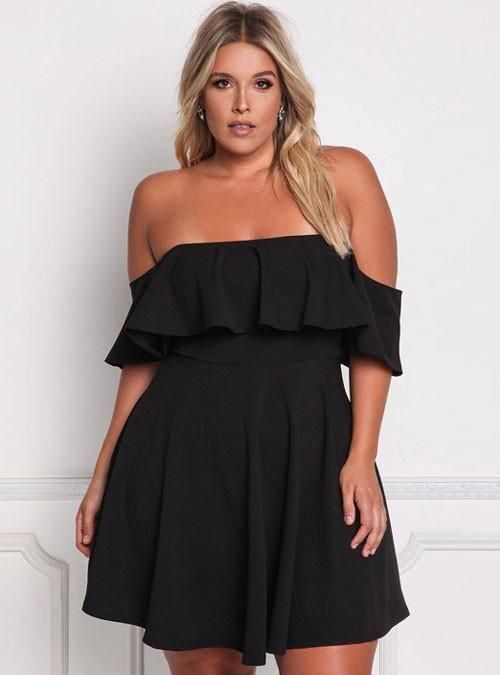Black Off Shoulder Ruffle Plus Size Skater Party Dress  da776b333