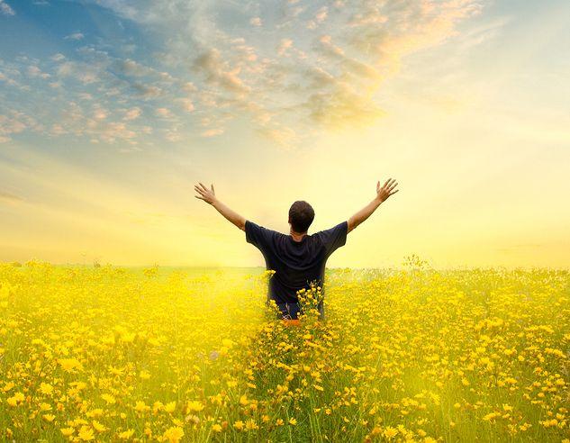 man in yellow field