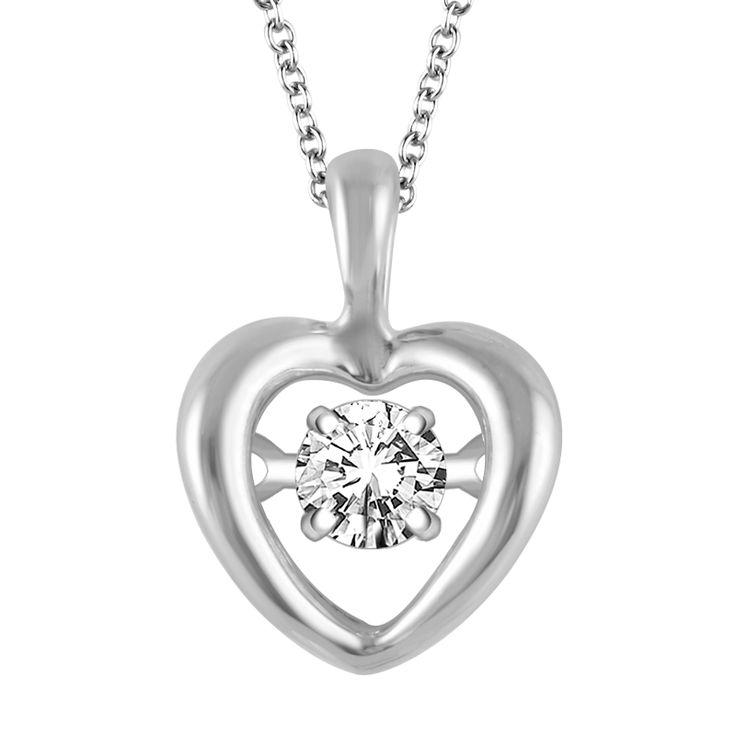 'Dazzling Diamonds' Sterling Silver Heart Necklace