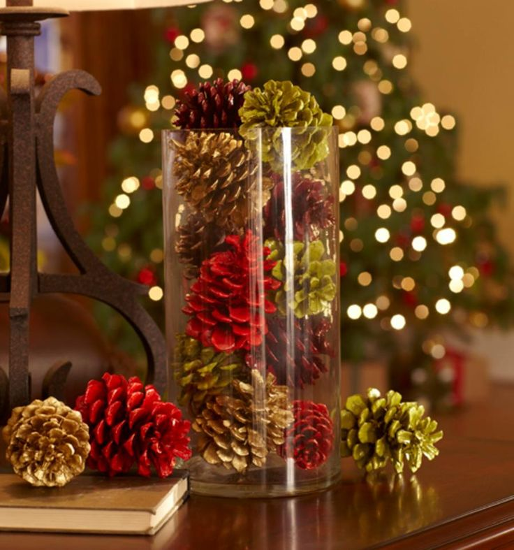 Christmas colored pinecones