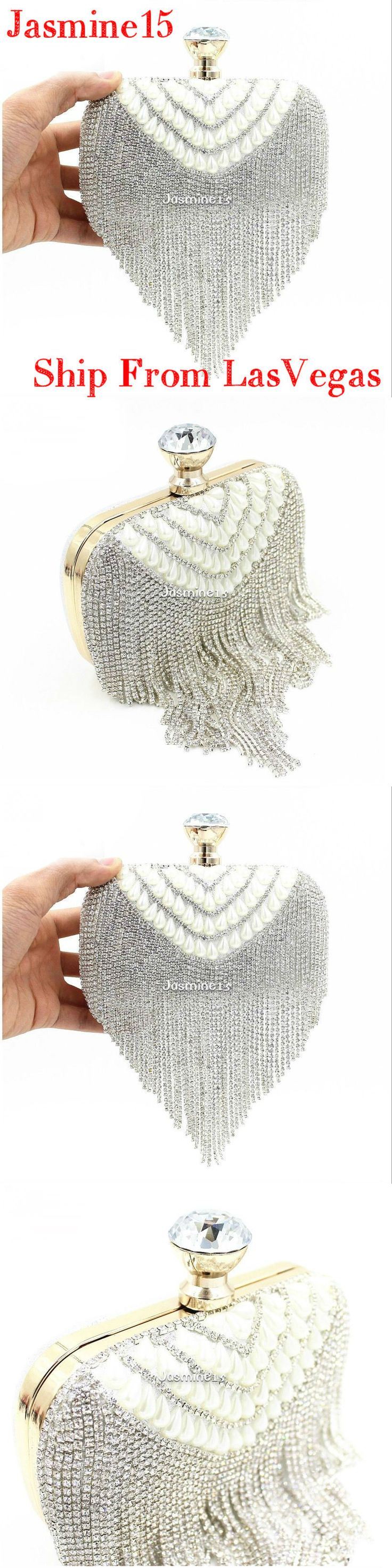 Bridal Handbags And Bags: Silver Tassel Crystal Wedding Evening Clutch Bag With White Pearl And Diamond -> BUY IT NOW ONLY: $35.0 on eBay!