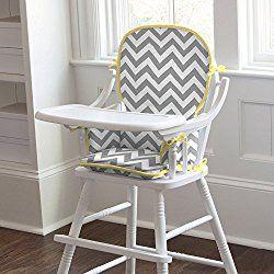 Carousel Designs Gray and Yellow Zig Zag High Chair Pad