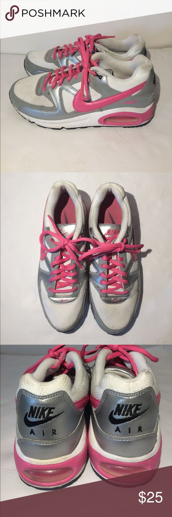 Nike air max command shoes 407626 youth/girls 7Y Nike air max command athletic shoes. Size 7Y. Pink-white. Gently preworn. Soles in very nice condition. Thanks. Nike Shoes Sneakers
