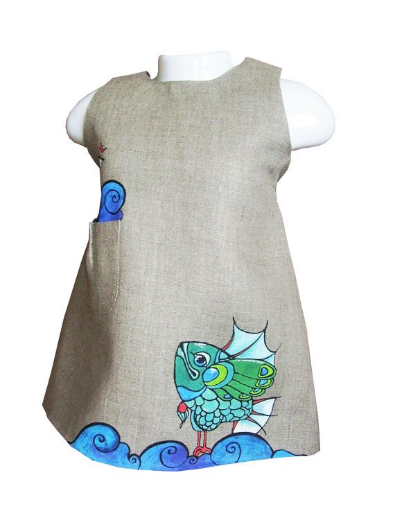 "Girls dress in light grey color linen - painted dress -  unit work - size by height 34""/86 cm for 12-18 month - children clothing"