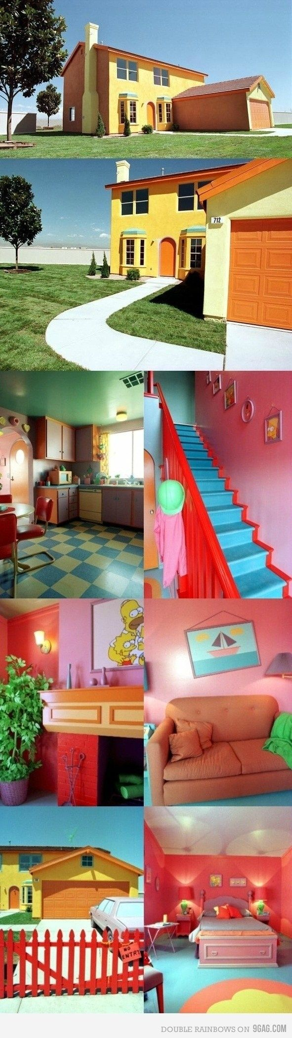 """Another pinner said: """"The Simpsons House!  I remember going here.. They let people tour it before the giveaway. After the giveaway it had to be painted to look normal on the outside and all the props were removed... Lame :0/"""""""