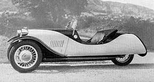 "Model ""F-2"" (1938)  Built from 1935-38.  A 2-seater bodywork on a 4-seater chassis with an 8 or 10hp Ford model ""Y"" engine. It was sold with no doors at all or a single door on the passenger side."