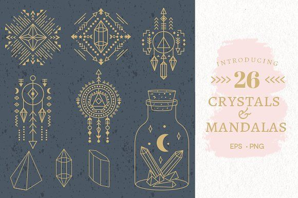 Geometri Crystals & Mandalas EPS,PNG by Pixejoo on @creativemarket