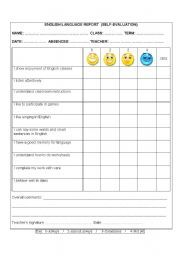 English teaching worksheets: Self-evaluation