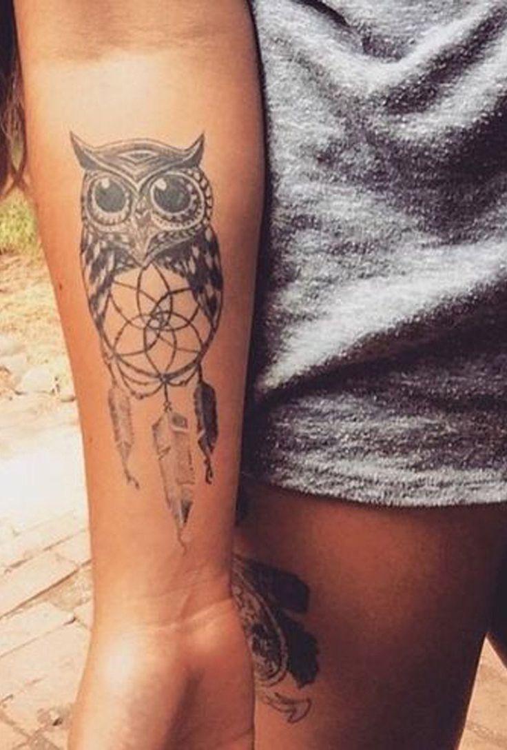Small Forearm Owl Tattoo Ideas for Women - Dreamcatcher Arm Tat - MyBodiArt.com