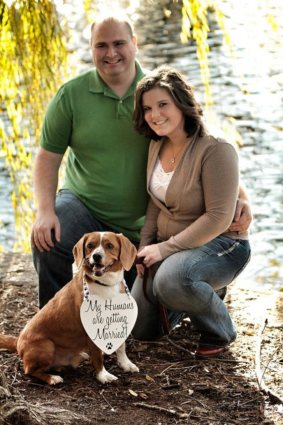 My Humans are getting Married Save the Date Sign Heart Signs Photography Props Enagement Pictures Wedding Dog Ring Bearer Flower Girl op Etsy, 14,07€