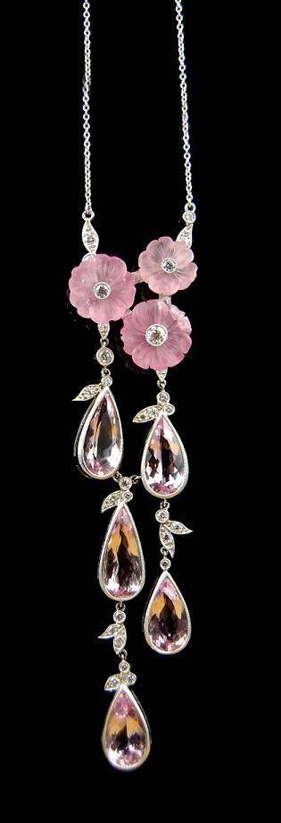 Platinum, diamond, morganite, and topaz necklace