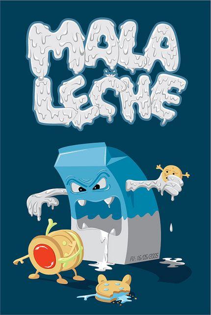 Estar de/Tener mala leche = Estar de/Tener mal humor - Estar enfadado.  Ilustración de Óscar Ospina.