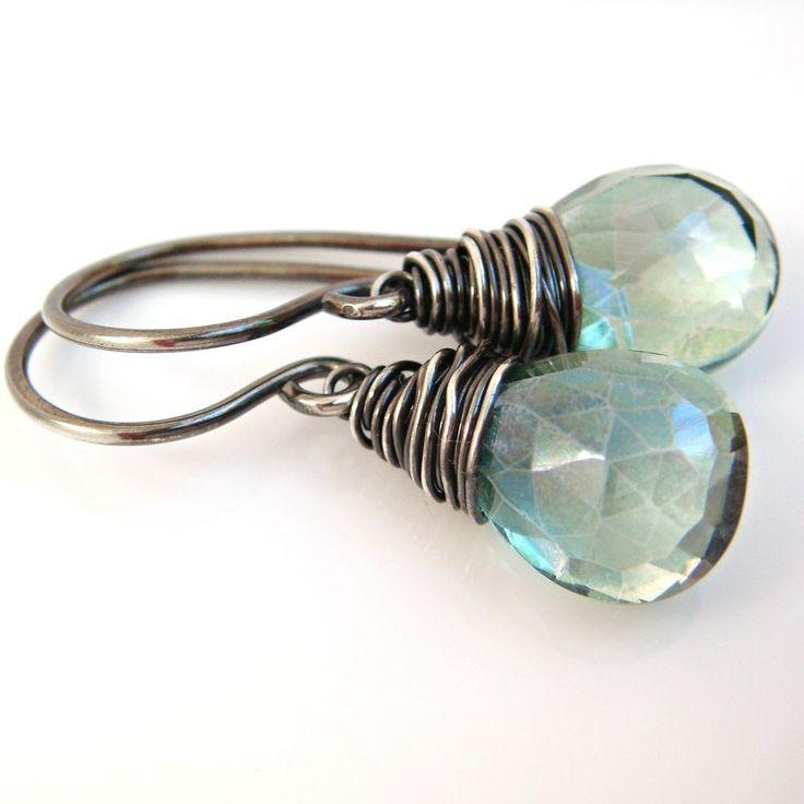 Teal Green Quartz Earrings Sterling Silver Oxidized, Wire Wrapped Gemstone Earrings, Handmade.