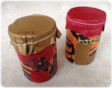 Un instrument de musique simple à construire : Fabriquer un djembé avec une boite de conserve. Un instrument facile à fabriquer avec des matériaux de récup