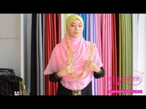 Butik Inspirasihana - Tutorial Shawl Chiffon Halfmoon Atheerah - YouTube