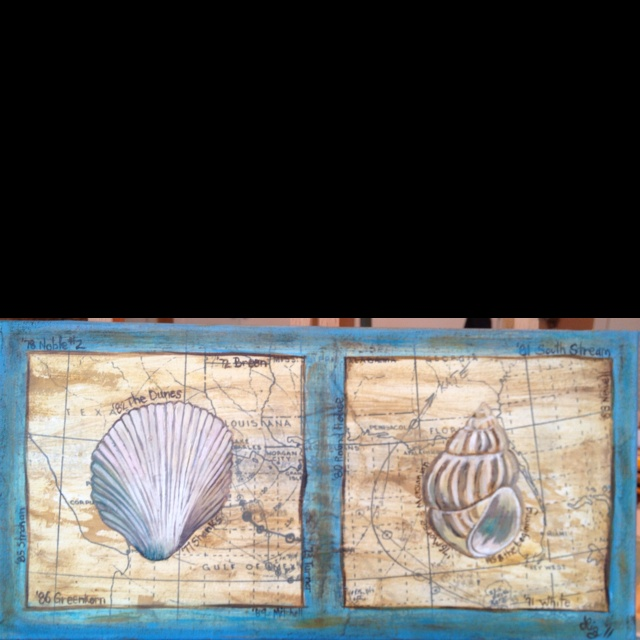 Over 40 years of vacations at Dune Allen Beach went into this mixed media oil painting. I pasted a copy of my dad's hand drawn hurricane tracking map onto the canvas - aged it and then painted the seashells on top. I also painted in the names of all the houses we've stayed in since 1958 (before I was born). If you look closely you can see the paths tracked of many different hurricanes.
