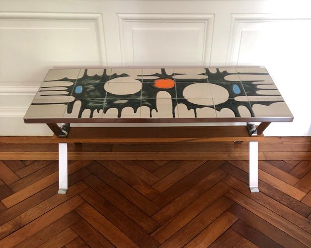 This Is A Lovely Ceramic Table From The 1970s In Blue And Green Colors On A Beige Background And Accented With A Touch Orange With Images Coffee Table Table Ceramic Table