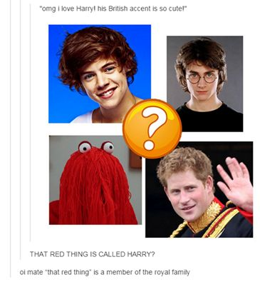 "All of the Harrys | British | Harry | One Direction Harry Styles | Daniel Radcliffe AKA Harry Potter | Red Hairy guy ""Harry"" from YouTube Video - Don't Hug Me I'm Scared 
