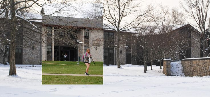 Same place, different time What a difference a year makes! A Pitt-Johnstown campus photo from December 14, 2015, (when temperatures were in the 70s) is inserted into a photo from December 14, 2016.