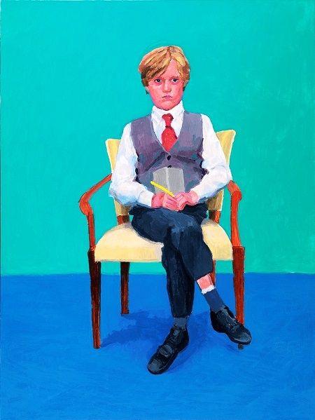Art selecta: David Hockney en la Galleria Internazionale d'Arte Moderna. Repetición con familiaridad en la serie de retratos que David Hockney presentará para exposición - arte, pintura, retrato contemporaneo, art, contemporary portrait paintings, artwork.