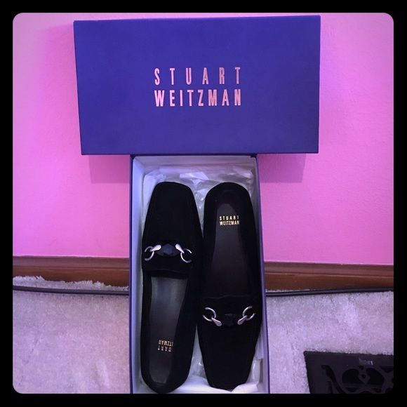NEW Stuart Weitzman Black Suede Hardrocks Brand new never worn still in box Stuart Weitzmans. Small heel - black gem with silver. So in style. Open to offers!  Stuart Weitzman Shoes Flats & Loafers