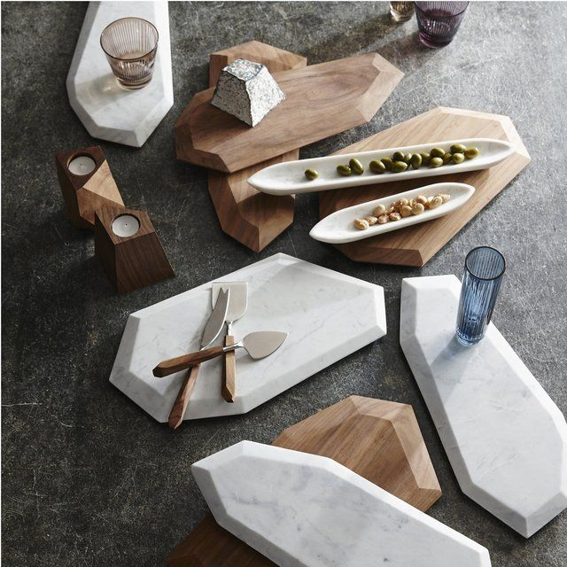 "Faceted Marble + Rosewood Serving Pieces. See also ""Baroque Bar Bistro Patisserie - Architizer"" – huge faceted mirror."