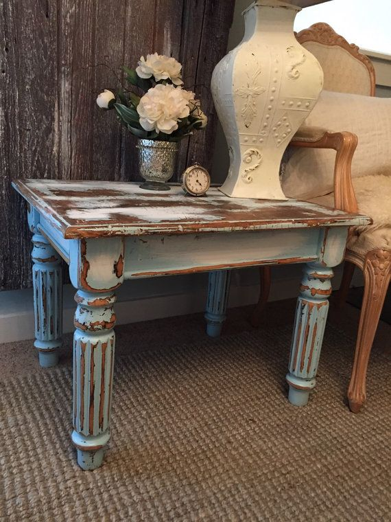 Chippy Paint End Table Aqua Turquoise Blue Rustic Distressed Chalk Painted Living Room Furniture Shabby Cottage Chic