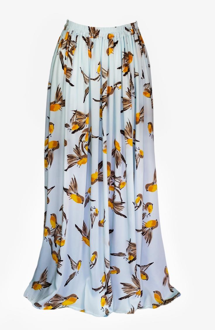 Birds Stamping Long Skirt