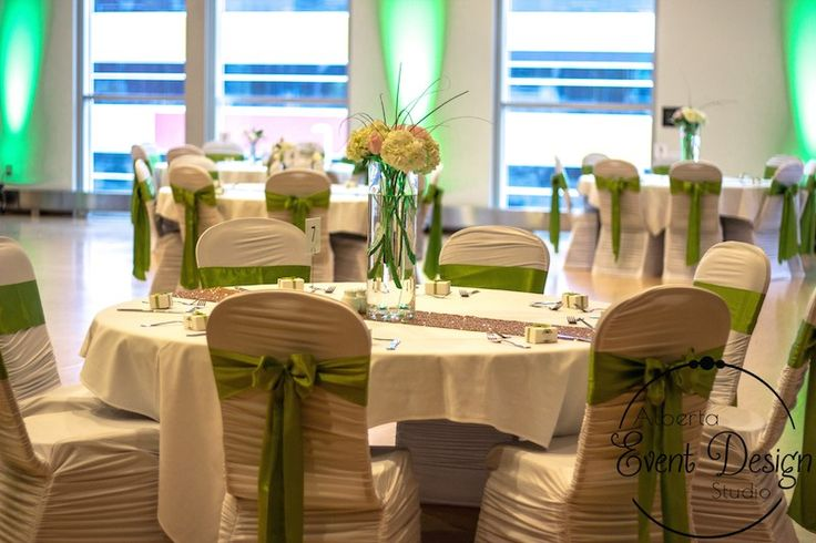 Reception Decor at Winsport Canada Olympic Park - White ruches Chair Covers with Sage Green Sashes