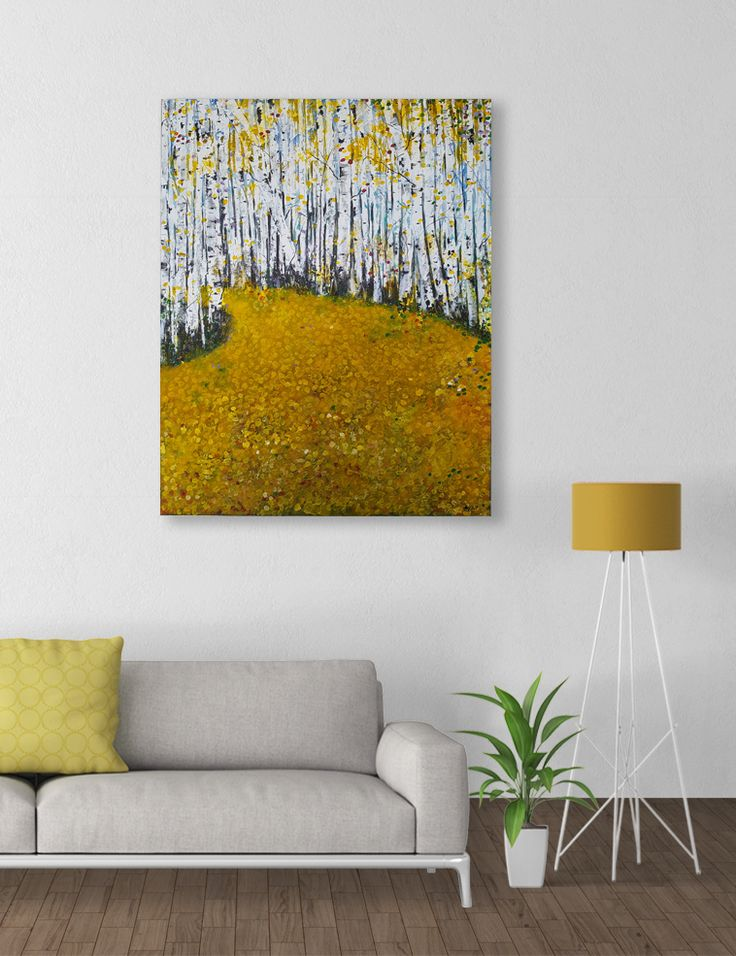 """Acrylic painting on stretched wrapped canvas with back staples 24"""" x 30"""" x .75""""  https://www.etsy.com/ca/listing/472895470/fall-abstract-painting-handmade-original?ref=shop_home_active_6 Butterscotch, canary and medallion shades of yellow forest painting inspired by Canadian fall highlights a yellow leafy trail, textured using modelling paste and palette knives giving it an """"embossed"""" effect"""