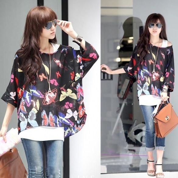 New Women Spring Summer Bohemian Batwing Sleeve Flowers Printed Chiffon Shirt Tops Oversized Blouse Tees