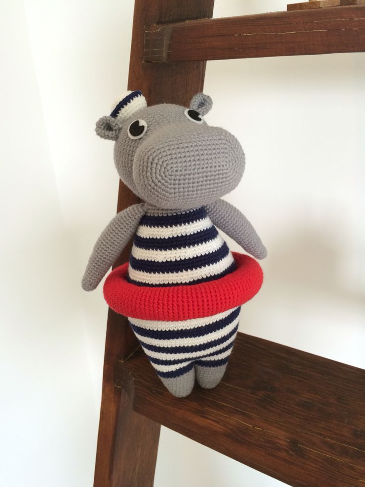 Vincent the Hippo. Pattern from foxogjane.