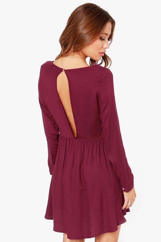 Wine Red Long Sleeve Keyhole Pleated Dress 19.99