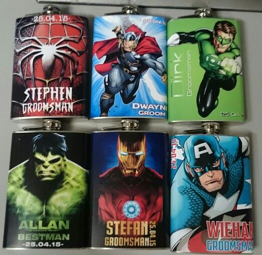 Custom wrapped hipflasks perfect as a gift for your groomsman.