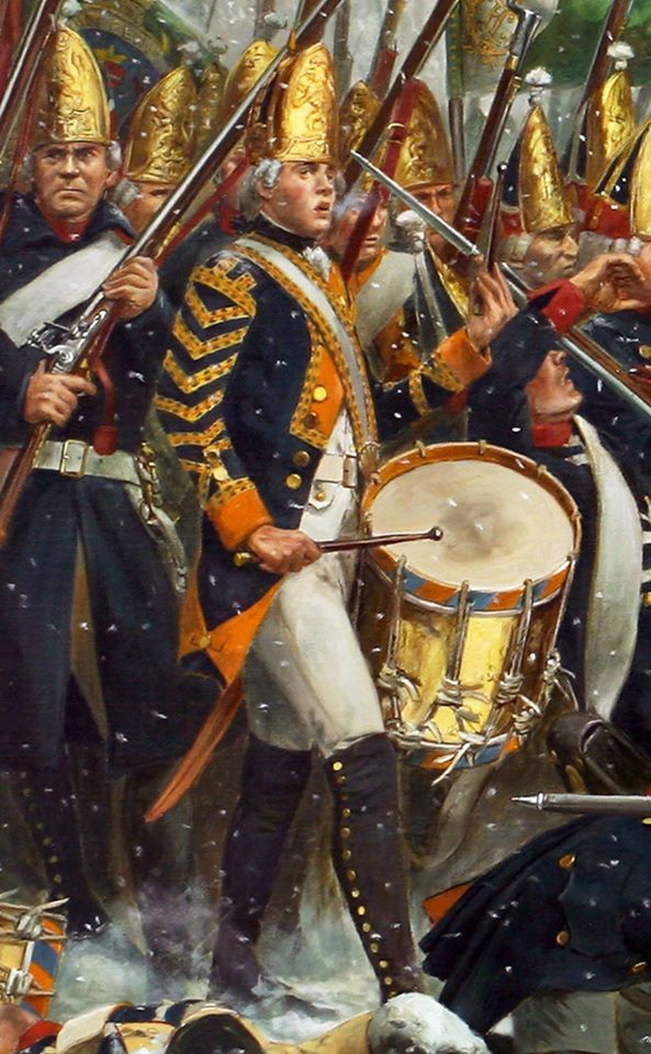 Detail of Don Troiani's painting of the battle of Trenton, showing one of Von Rall's Hessian drummers.
