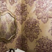 Powder bath purple & gold wallpaper was Hollywood glam not Cheesy Vegas.  Pallos Verdas Drive - Staged to DWELL