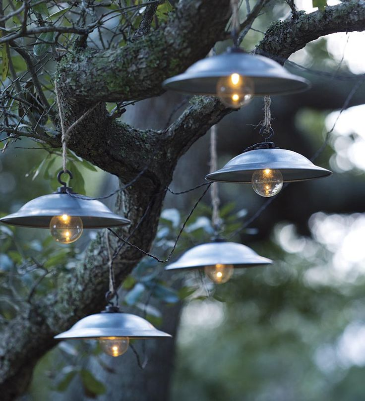 "Caf&Suspend a string of our vintage-style Café Solar String Lights for charm in the backyard, garden or patio. A solar panel powers our 25' strand of Café Solar String Lights featuring ten 8"" tin shades with bright LED bulbs."