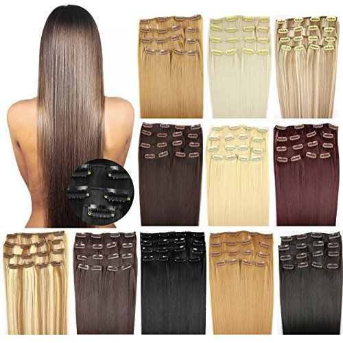 OUBO Clip in Extensions Haarteile für eine komplette ganzen Kopf Haarverlängerung Haarverdichtung glatt wie Echthaar 137g 147g hochwertiges super dickes Haar 7 Tressen 16 Clips 45cm 55cm Top -60# Weißblond, 45cm | Your #1 Source for Beauty Products