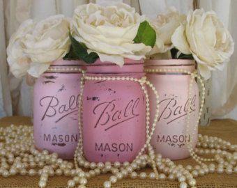 ON SALE NOW Set Of 3 Pint Mason Jars Painted by PaintedMasonJar