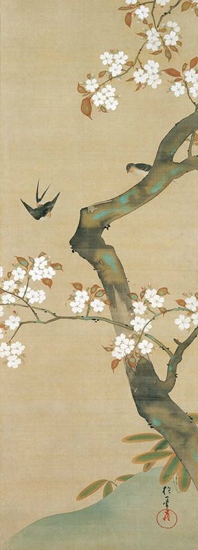 "Sakai Hoitsu, ""Birds and flowers twelve months of the year"" (the tenth month). The Etsuko and Joe Price Collection."