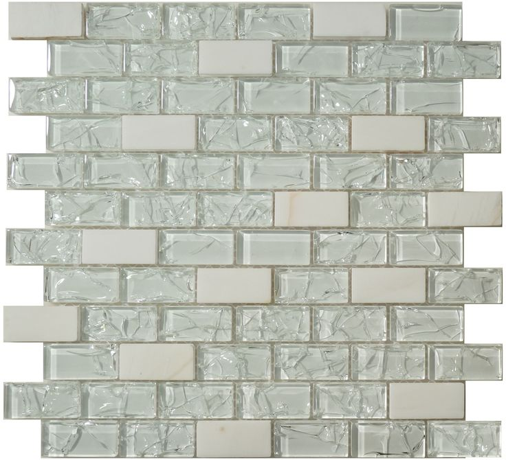 Flicker Tile Shattered Series Uniform Brick Ice Glossy White Gl And