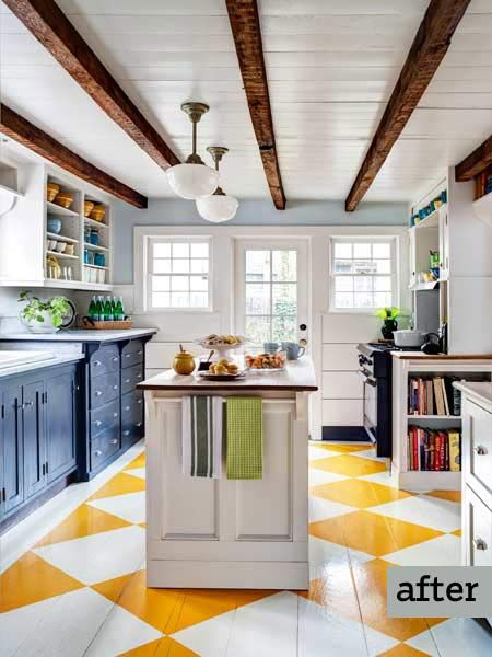 kitchen remodel with island, exposed beam ceilings, painted floor, disguised appliances in kitchen cabinets