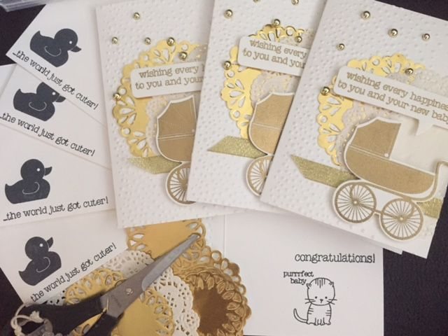Stampin'Up demonstrator Creations by Jolan. Baby cards using Made with Love and Something for the baby. @creationsbyjolan