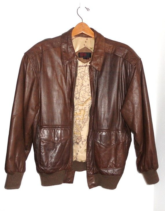 Vintage Leather Bomber Jacket - Coat Nj