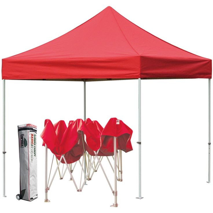 Eurmax Basic 10 X 10 Pop up Canopy Outdoor Party Gazebo Instant Shelter with Roller Bag, Red. Steel frame with straight leg, set up in minutes. Hammertone powder coated finishing, good looking and rusty resistance. 1 year warranty. 300D polyester top: 95% UV pretection, CPAI-84 fire retardant certification, water proof. Full horizontal velcro on canopy valances, easy to attach sidewalls when you need them. Thumb latch lock system, the latest technology in the industry, easy to lock and...