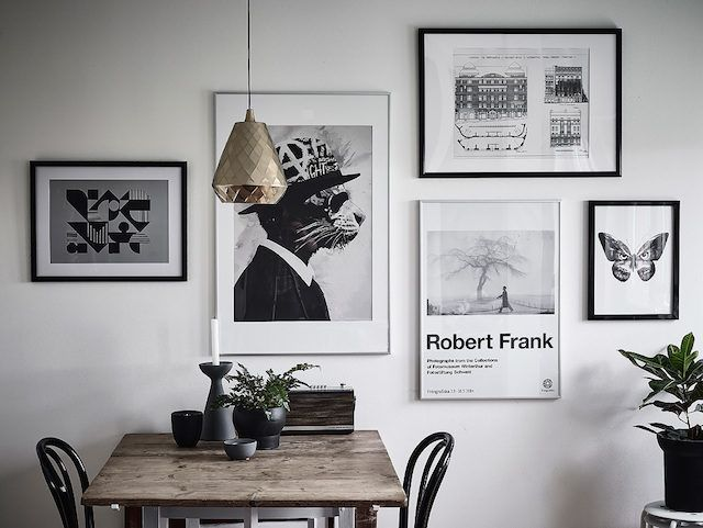 Gallery wall in a fab Swedish small space with different 'zones'. Entrance.