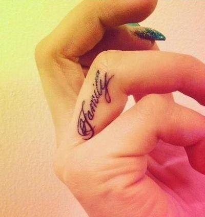 """""""Family""""finger tattoo"""