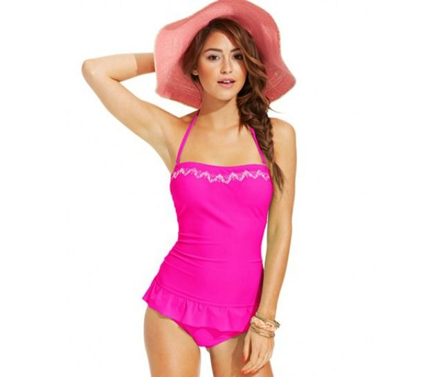 Summer Swimsuit Guide: 12 Hot Trends to Try!: Hula Honey Embroidered Ruffle-Hem One-Piece Swimdress