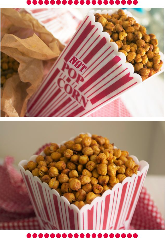Crispy Crunchy Roasted Chickpeas (great alternative to chips!) Preheat oven to 400˚F. Toss chickpeas with spice, salt and a small amount of oil. Put them on a baking sheet in a single layer. Bake for about 30-40 minutes until golden brown and crunchy. Toss them every 10 minutes. Let them cool completely before serving. #vegetarian